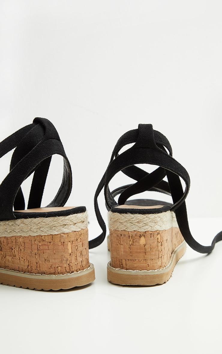 Niella Black Espdadrille Flatform Sandal Flats