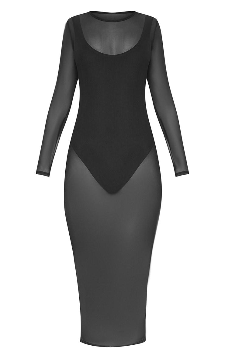 Black 2 in 1 Mesh Midi Dress 3