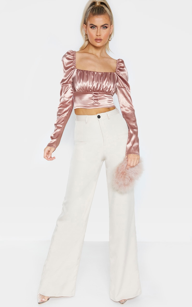 Tall Dark Blush Satin Corset Detail Long Sleeve Crop Top 4