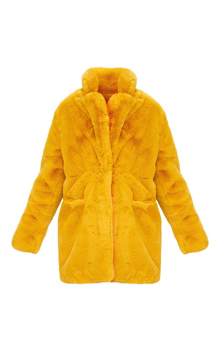 Mustard Premium Faux Fur Coat 3