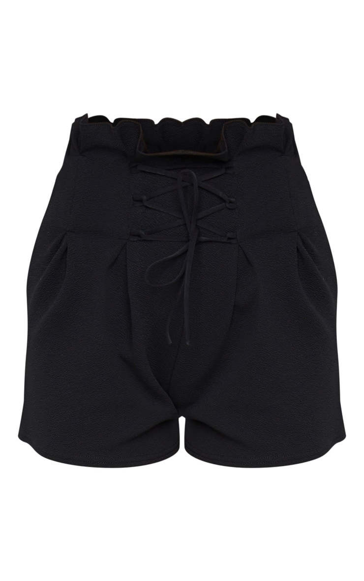 Black Lace Up Tailored Shorts 6