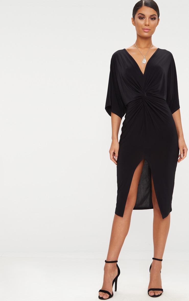 Black Slinky Batwing Twist Detail Midi Dress  1
