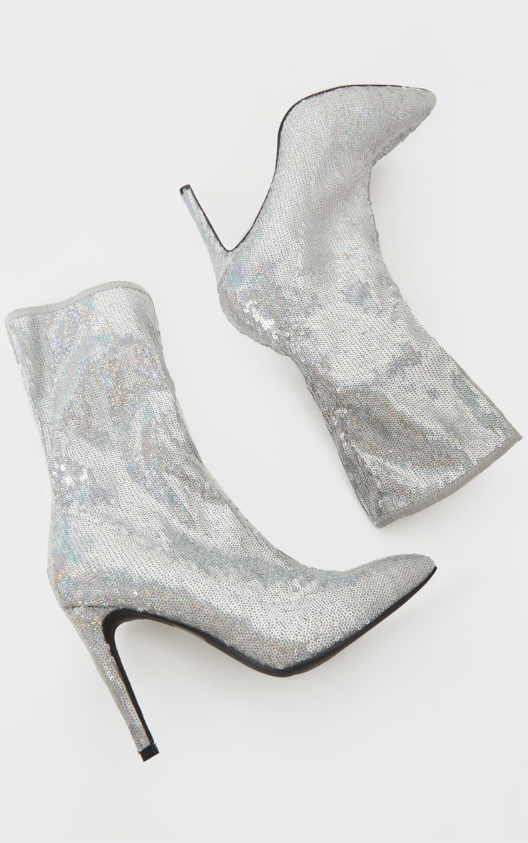 Silver Sequin Point Toe Ankle Boot 3