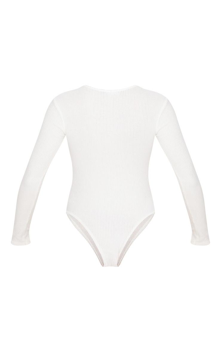 Cream Brushed Rib Crew Neck Long Sleeve Bodysuit 4
