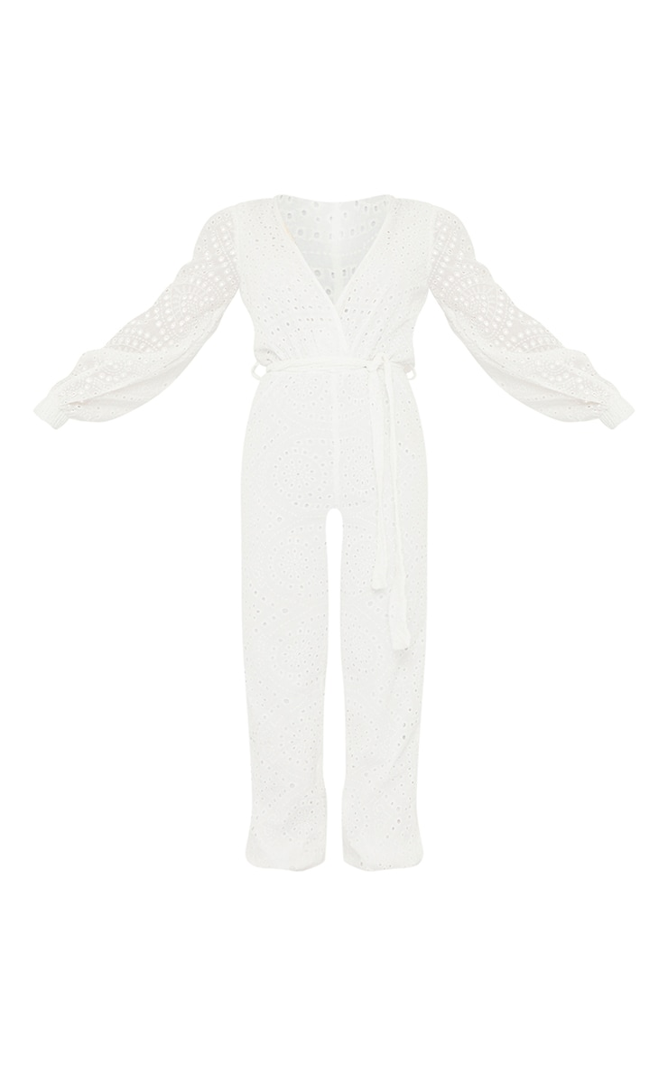 White Broderie Anglaise Wrap Tie Waist Jumpsuit 5