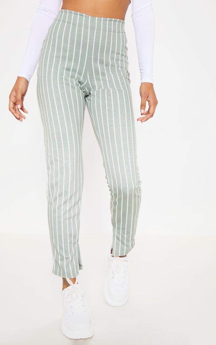 Sage Green Jacquard Pinstripe Split Hem Skinny Trouser 2