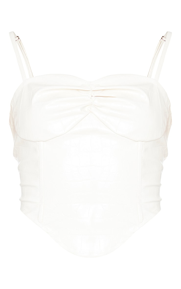 Cream Croc Print Faux Leather Cup Detail Strappy Corset Top 5