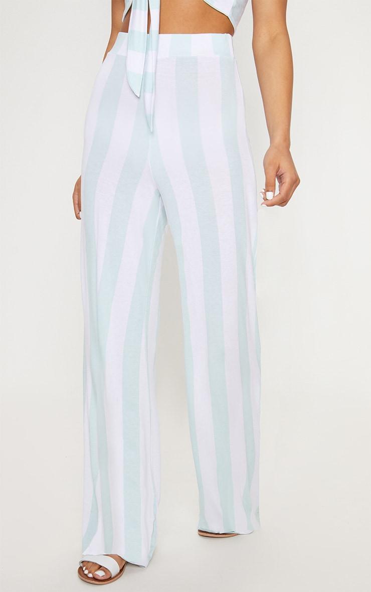 Mint High Waisted Stripe Wide Leg Trouser 2