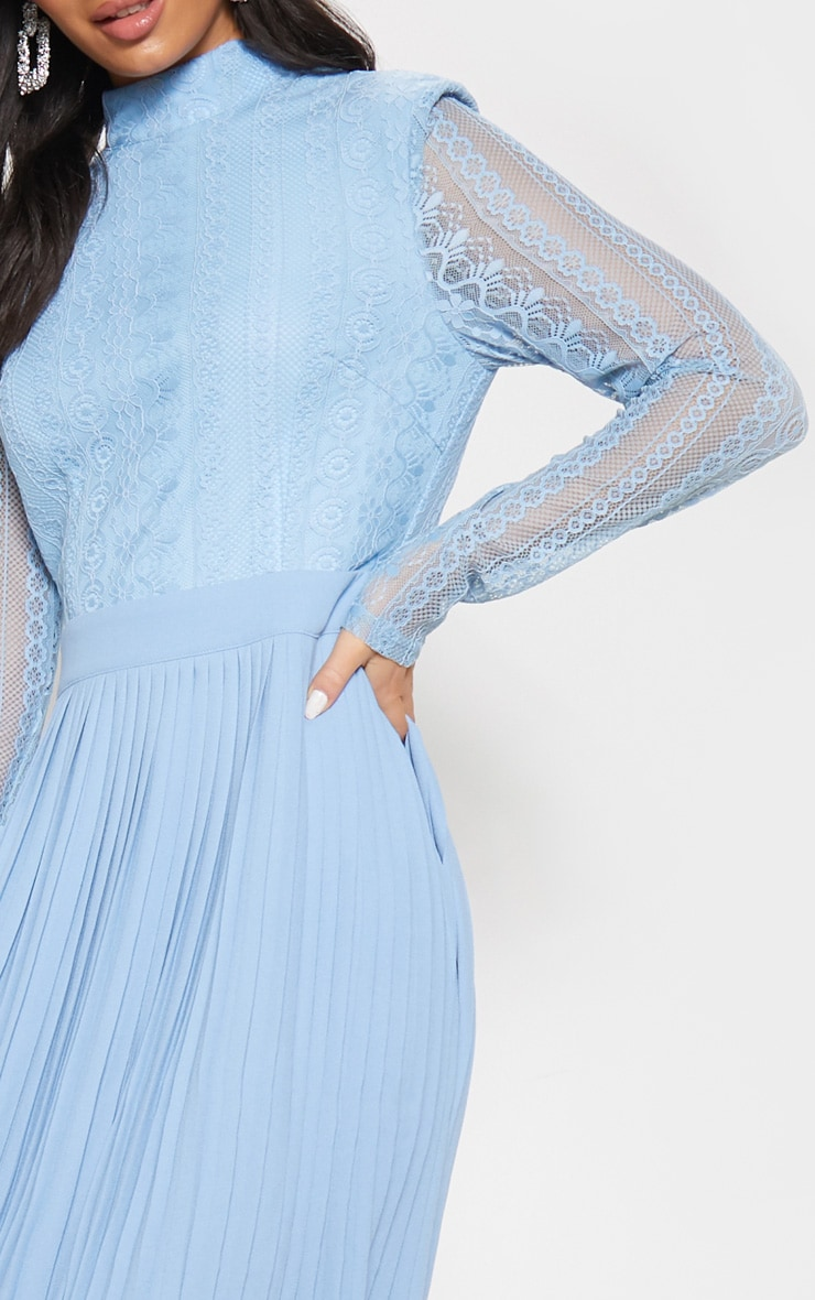 Dusty Blue Lace Top Pleated Midi Dress 5