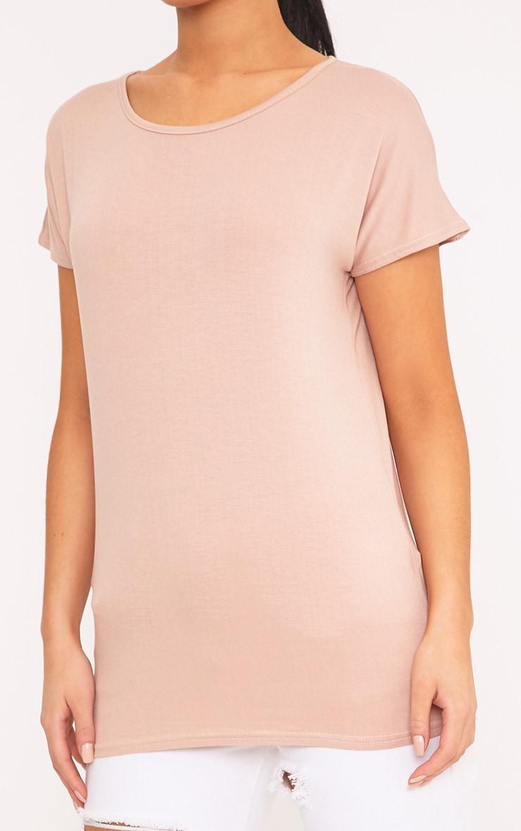 Basic t-shirt surdimensionné à col rond couleur chair 5