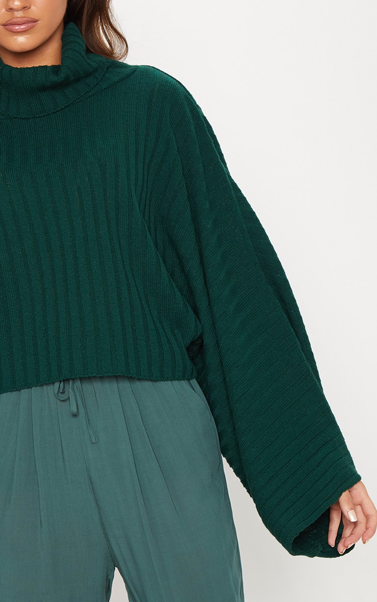 Green Ribbed Knit High Neck Jumper  5