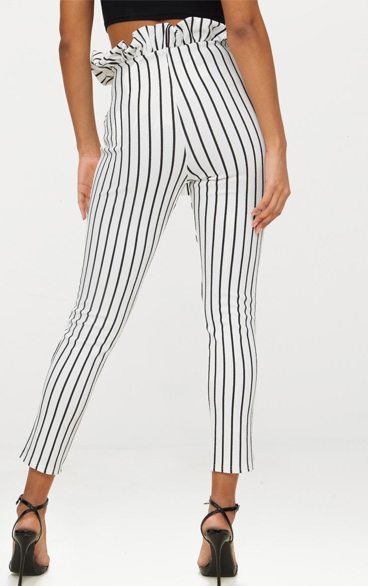 White Pinstripe Paperbag Skinny Trousers  3