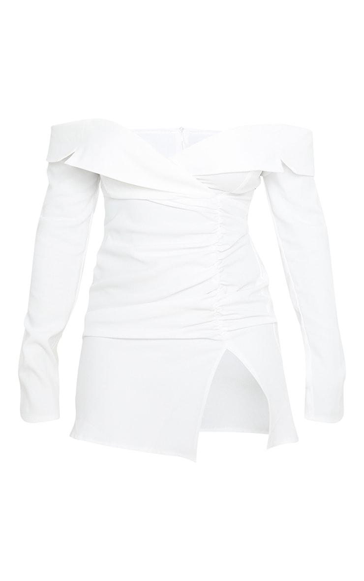 Petite Ecru Bardot Ruched Detail Blazer Style Dress 3