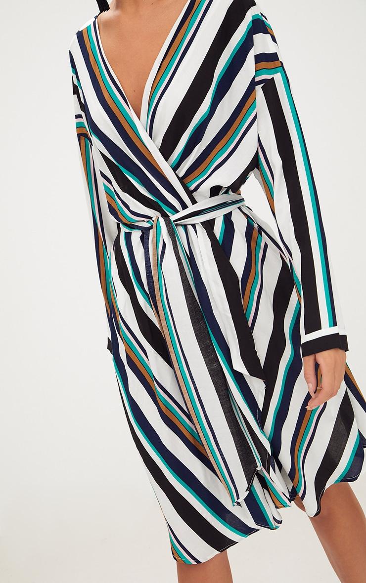 Navy Bold Stripe Tie Waist Wrap Dress 5