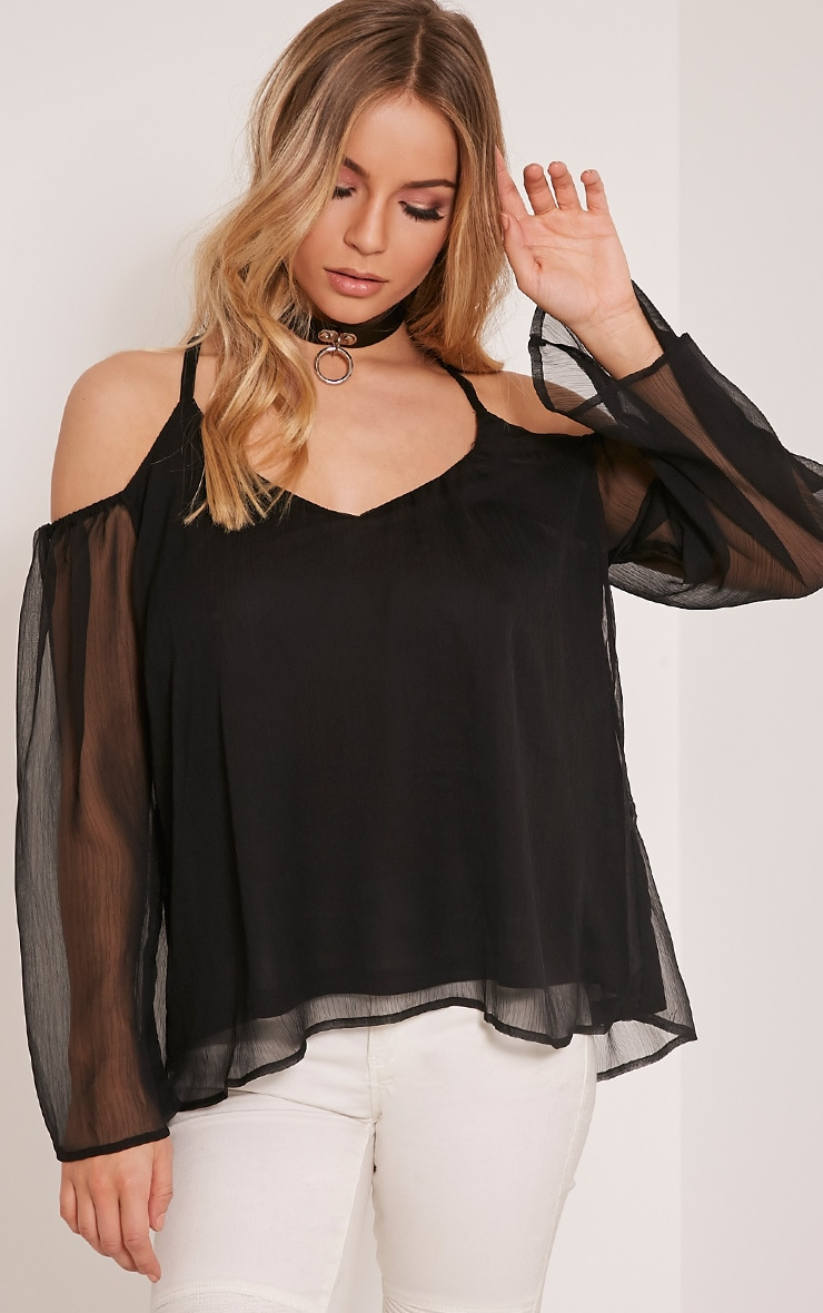 Zeta Black Cold Shoulder Chiffon Top 1