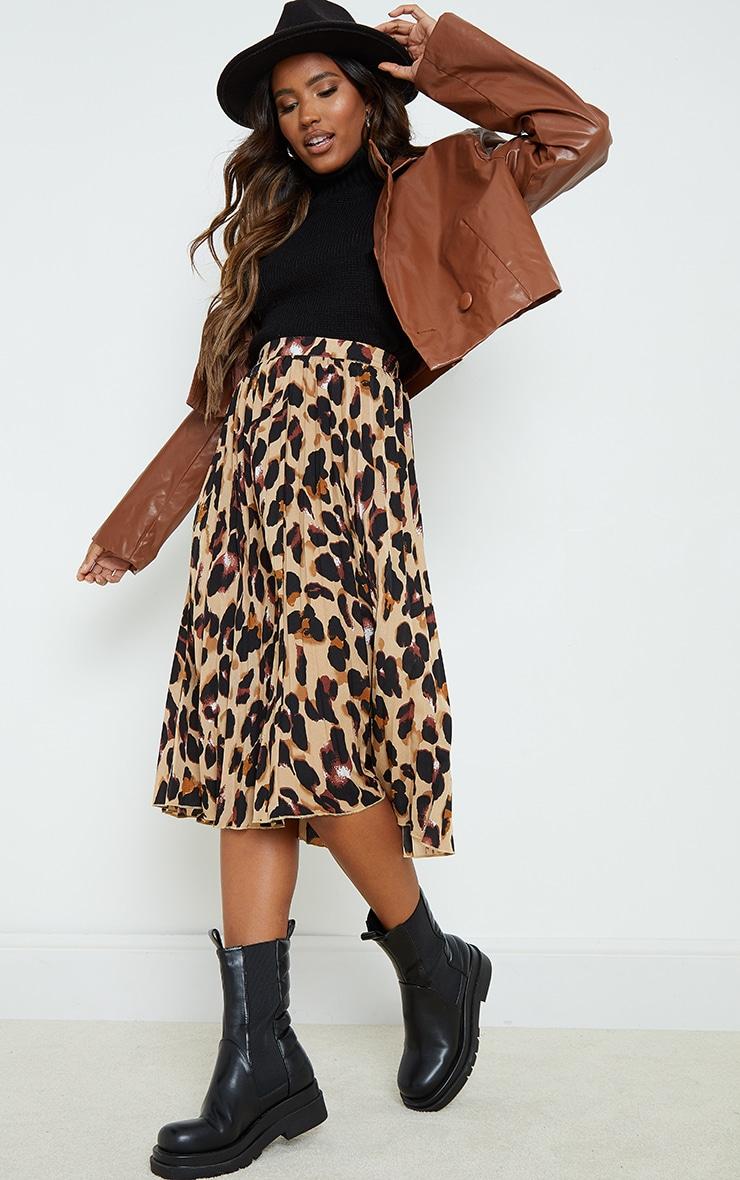 Tan Leopard Print Satin Pleated Midi Skirt 1