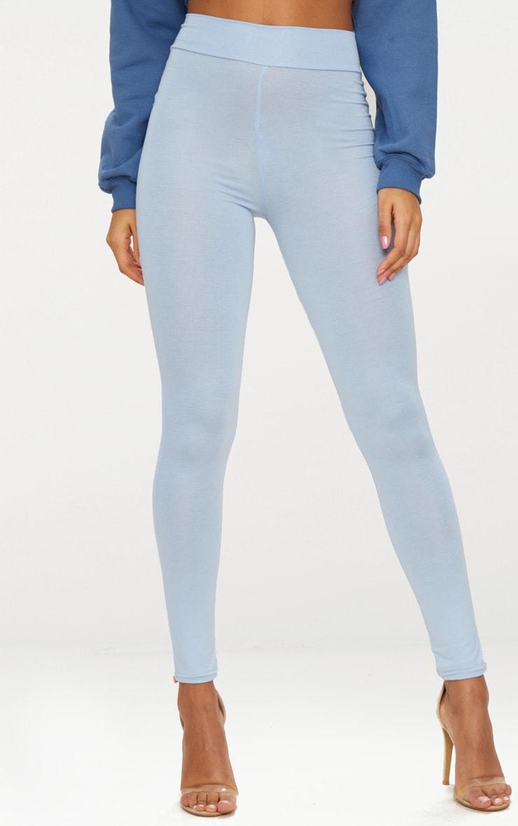 Powder Blue High Waisted Jersey Leggings 2