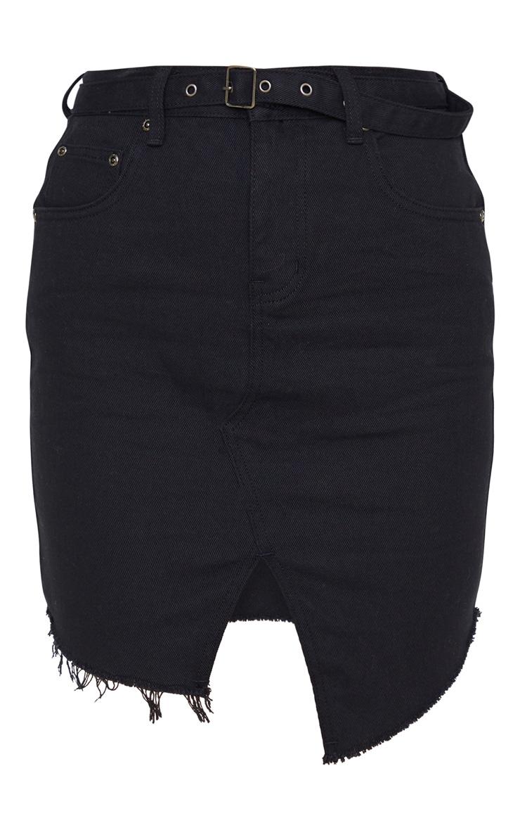 Black Cut Out Hem Belted Raw Denim Skirt 3