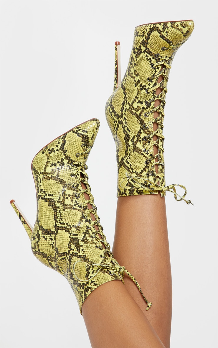 Lime Snake Lace Up High Point Ankle Boot 2