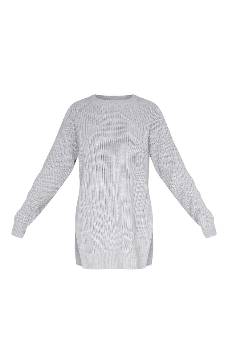 Grey Round Neck Side Split Sweater 5