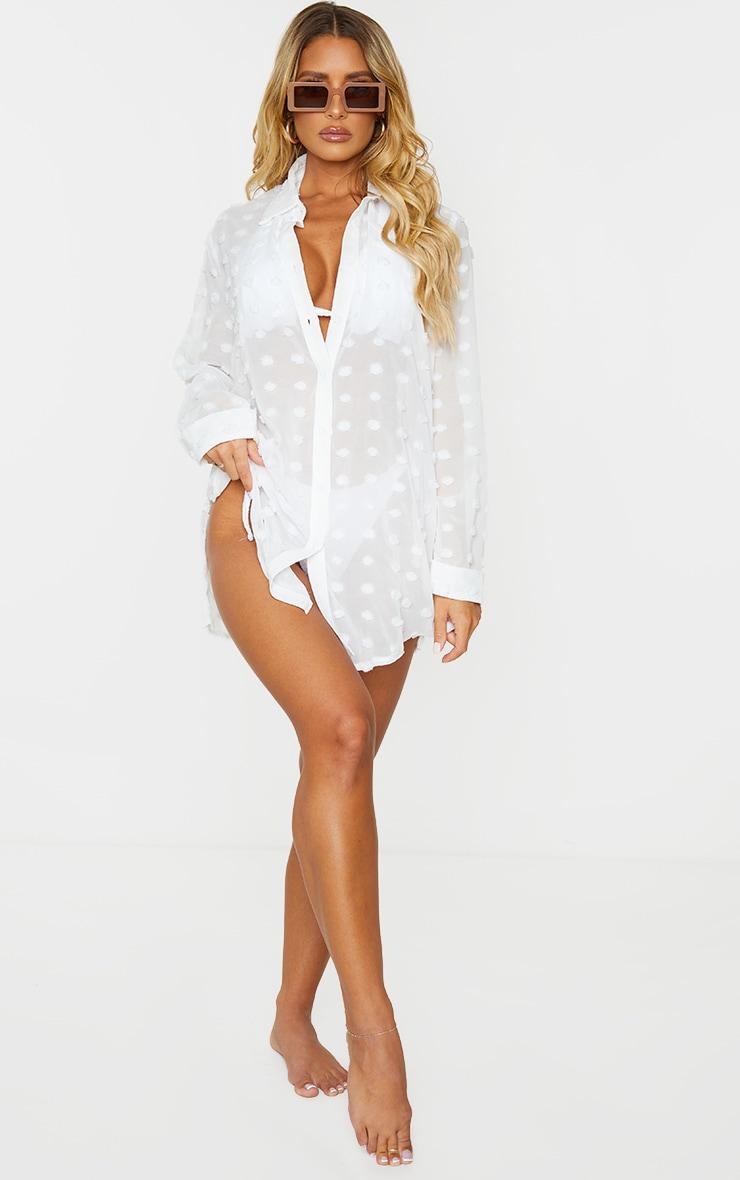 White Dobby Chiffon Beach Shirt 3
