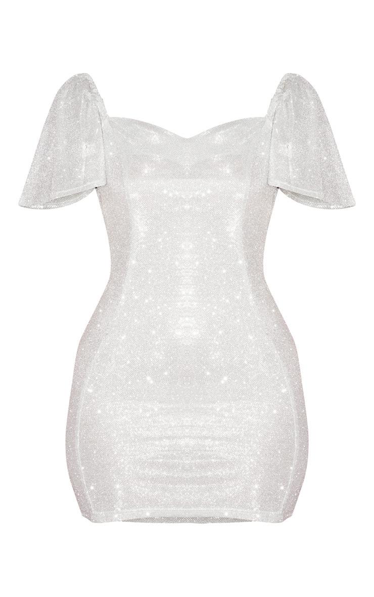 Silver Glitter Puff Sleeve Low Back Bodycon Dress 3