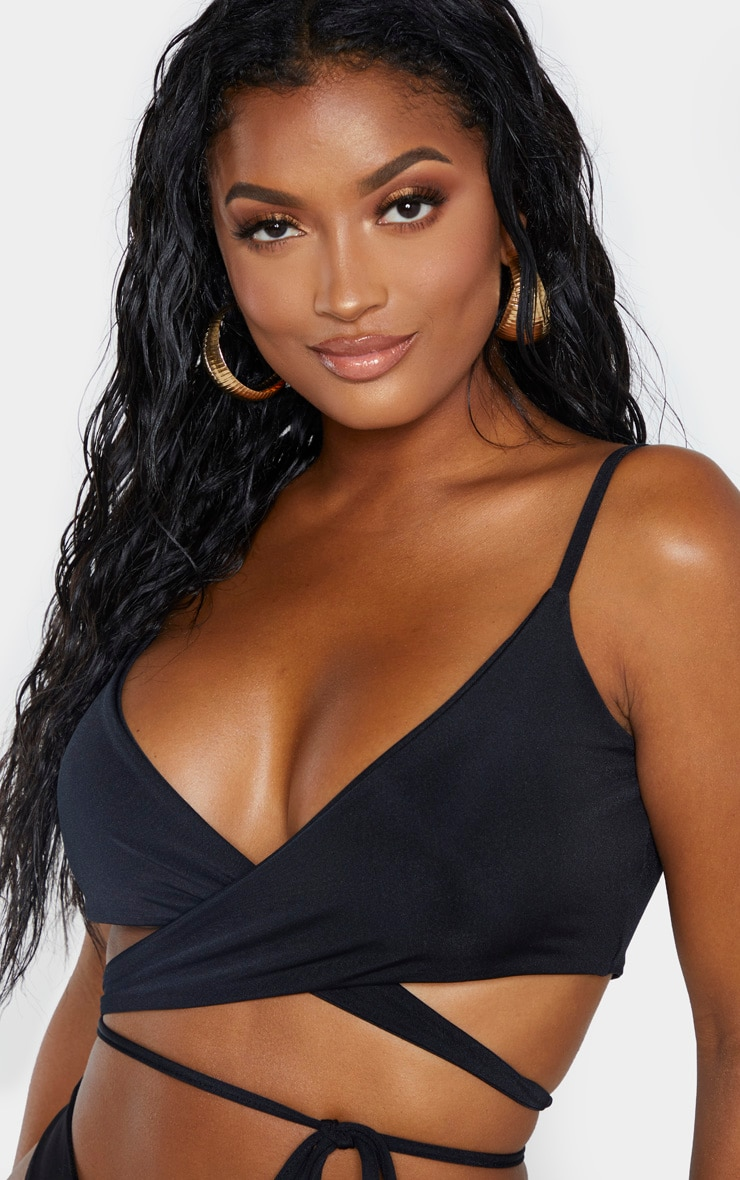 Shape Black Wrap Waist Detail Bikini Top 5