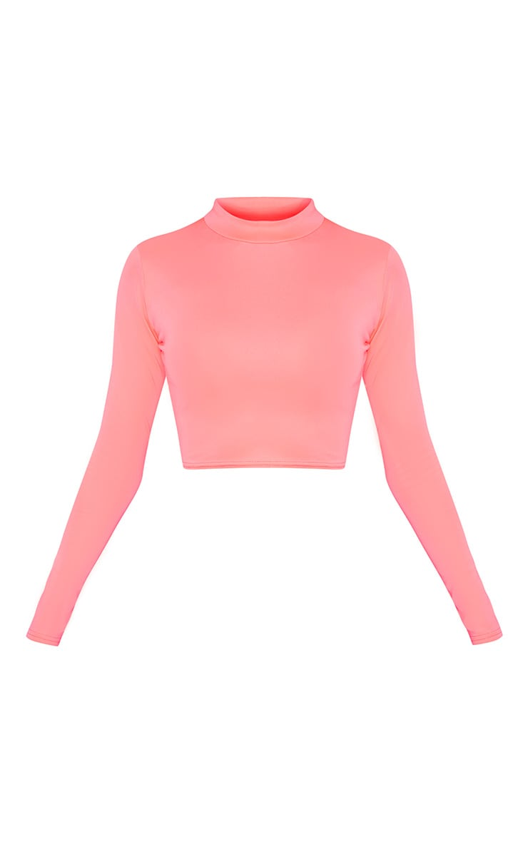 Neon Pink High Neck Long Sleeve Crop 3