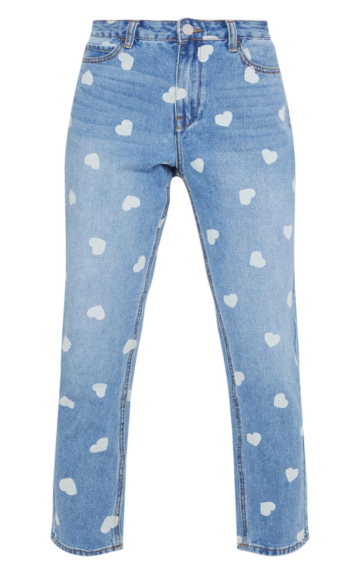 Light Wash Heart Print Straight Leg Jeans 3