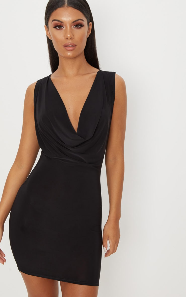 Black Slinky Extreme Cowl Front & Back Sleeveless Bodycon Dress 2