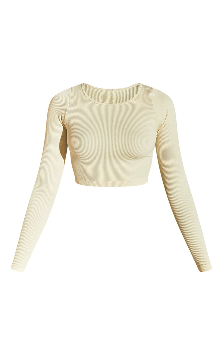 Cream Structured Contour Ribbed Round Neck Long Sleeve Crop Top 5
