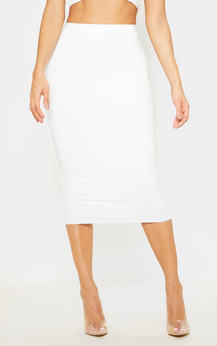 White Second Skin Slinky Midi Skirt 4