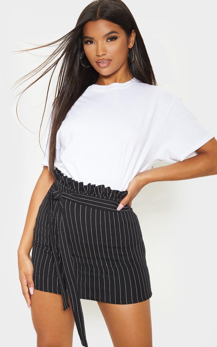 Black Pinstripe Paperbag Mini Skirt  5