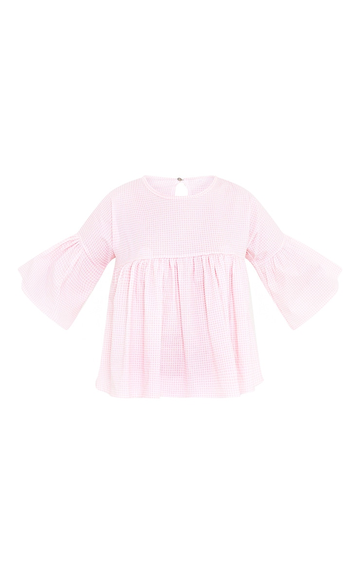 Alexiah Pink Gingham Frill Sleeve Blouse 3