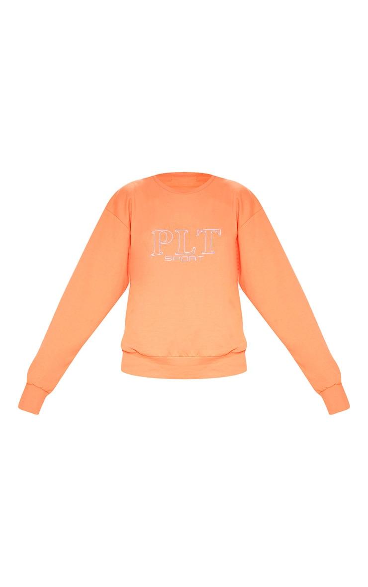 PRETTYLITTLETHING Peach Embroidered Oversized Sweatshirt 3