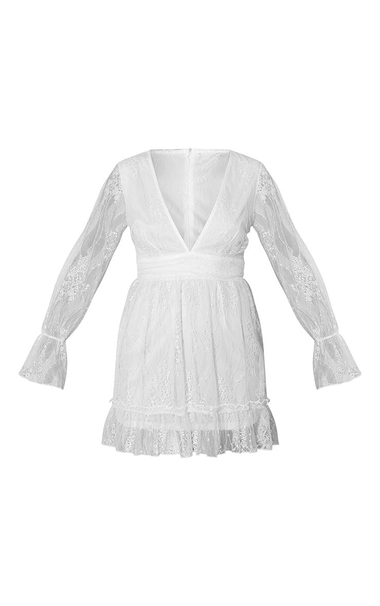 White Embroidered Chiffon Plunge Long Sleeve Shift Dress 5
