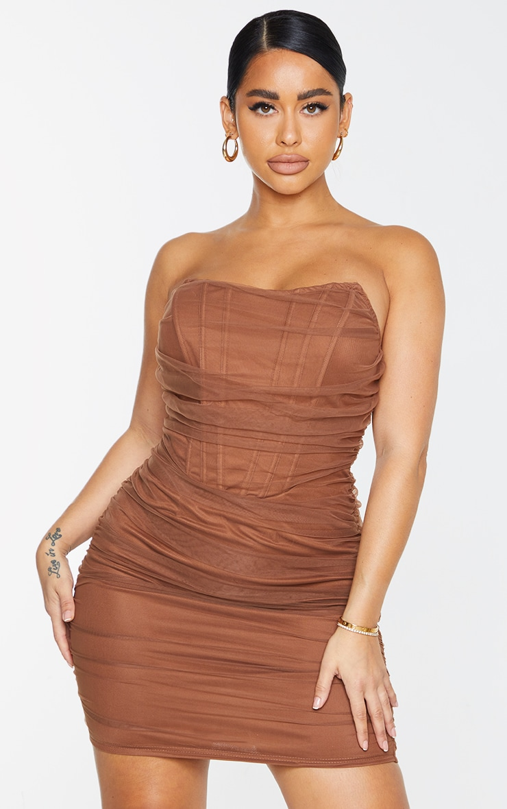 Shape Chocolate Brown Mesh Corset Detail Ruched Bodycon Dress 1