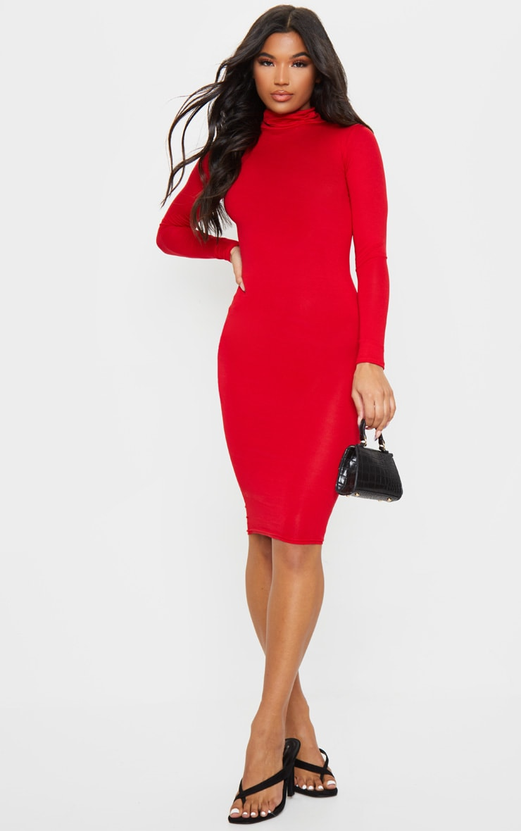 Basic Red Roll Neck Midi Dress 3