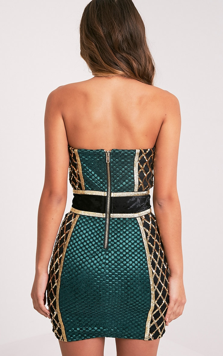 Ezmai Emerald Green Premium Sequin Panel Bodycon Dress 3