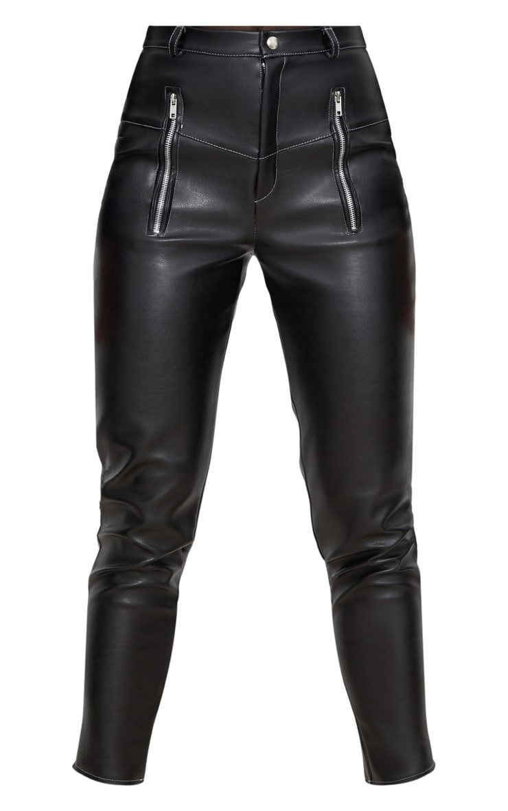 Black Faux Leather Contrast Stitch Pants 3