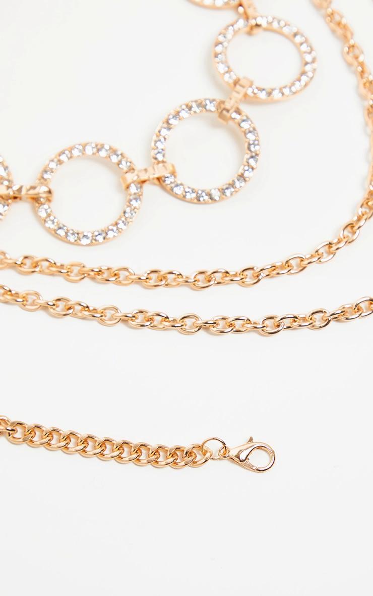Gold Diamante Circles Chain Belt        3