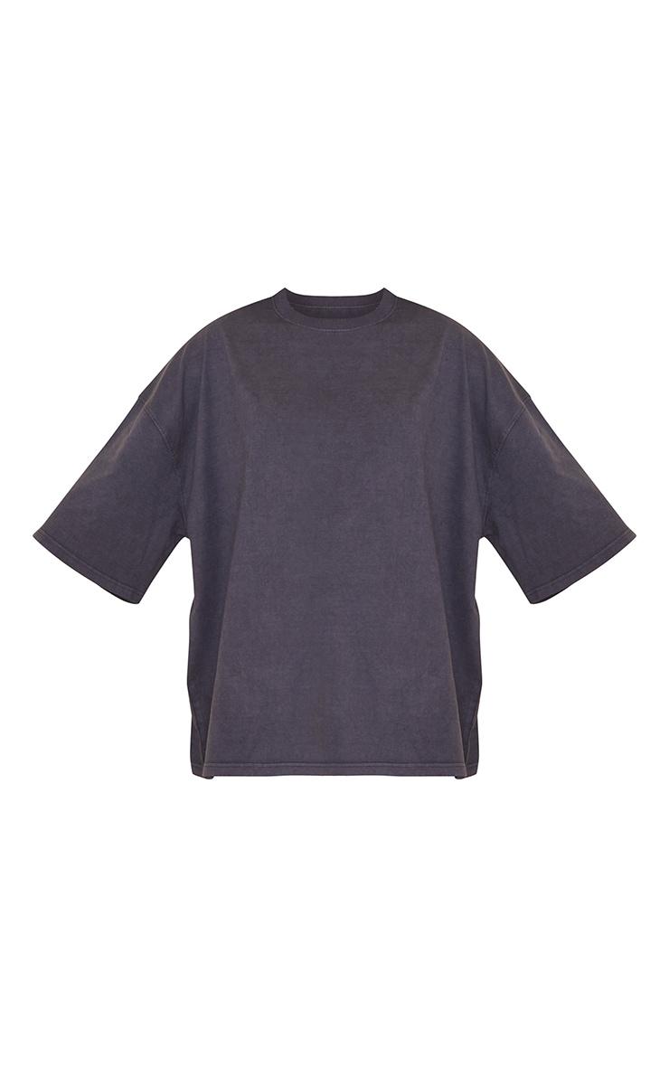 Maternity Acid Wash Grey Oversized Cotton T-Shirt 5