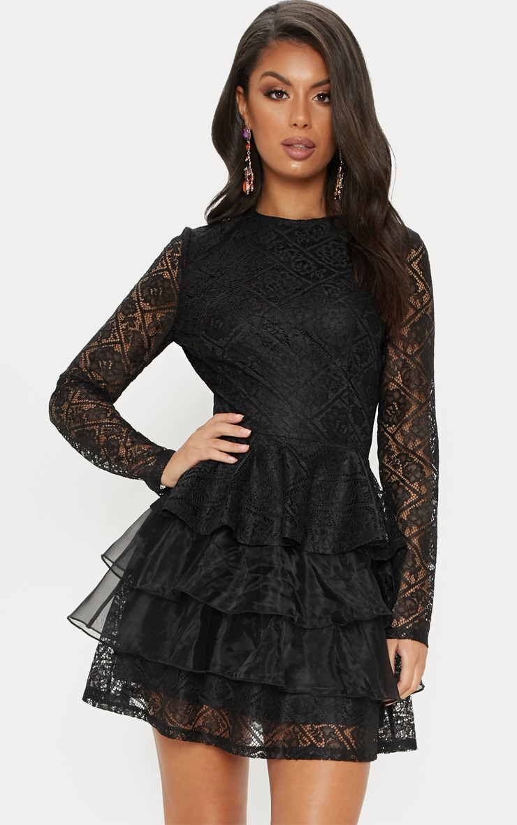 Black Lace Long Sleeve Tiered Skater Dress image 1 a13436a5d