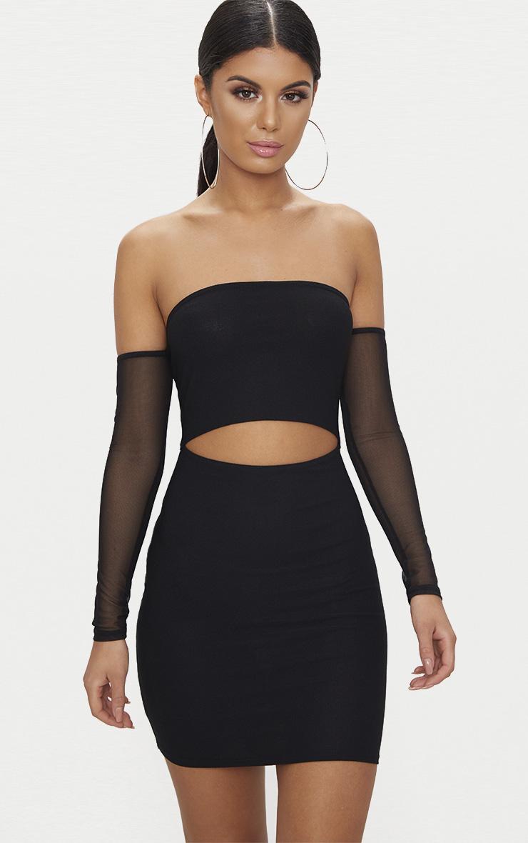 Black Bardot Mesh Sleeve Bodycon Dress 1