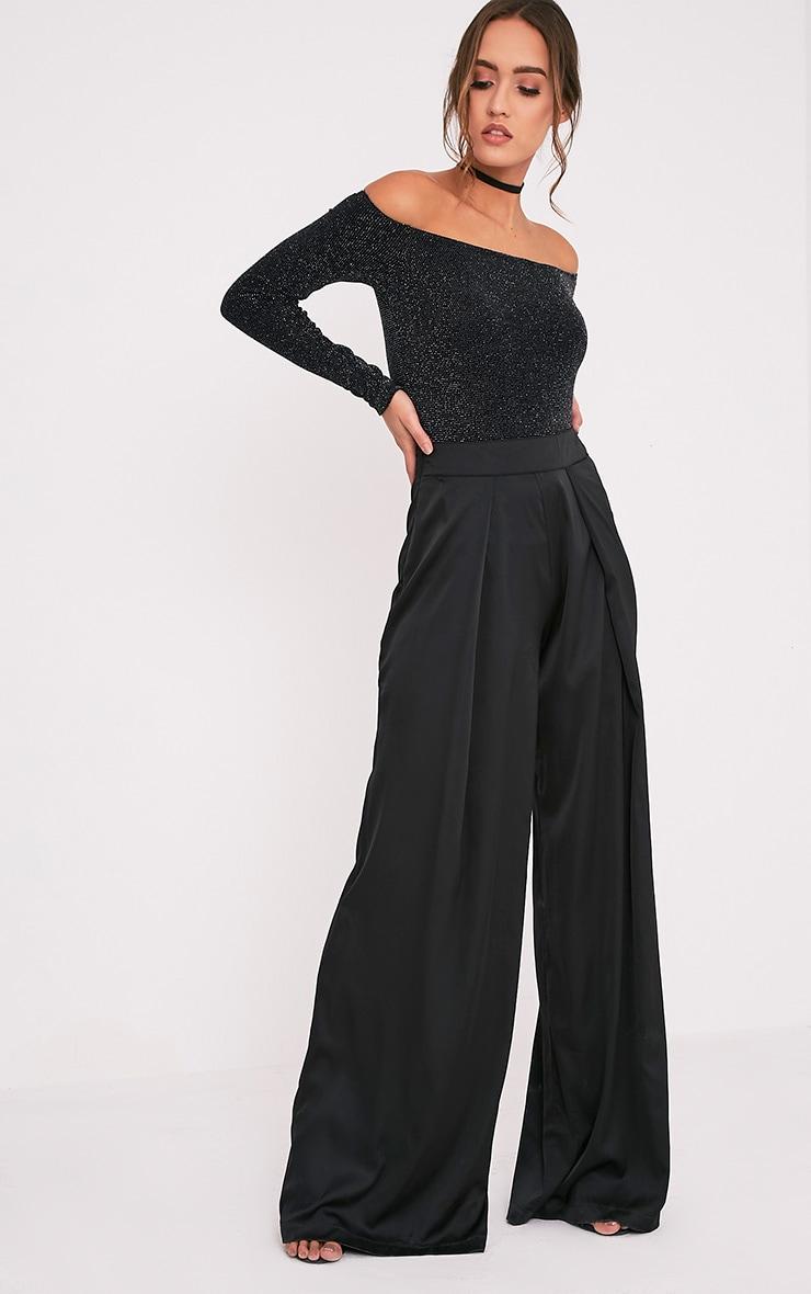 Luzette Black Lurex Bardot Longsleeve Bodysuit 6