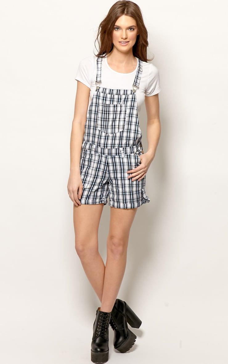 Katrina Blue Checked Dungaree Playsuit 3
