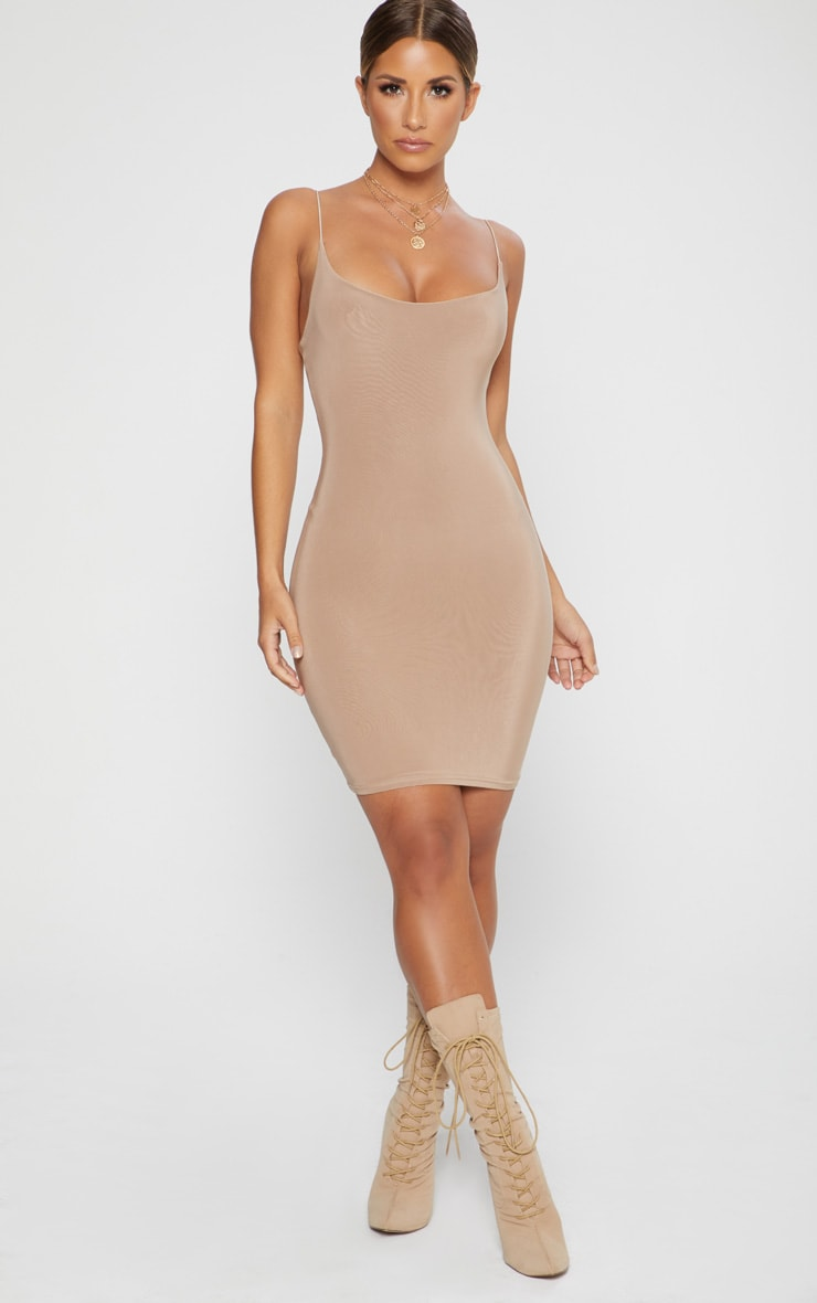 Taupe Second Skin Slinky Spaghetti Strap Bodycon Dress 3