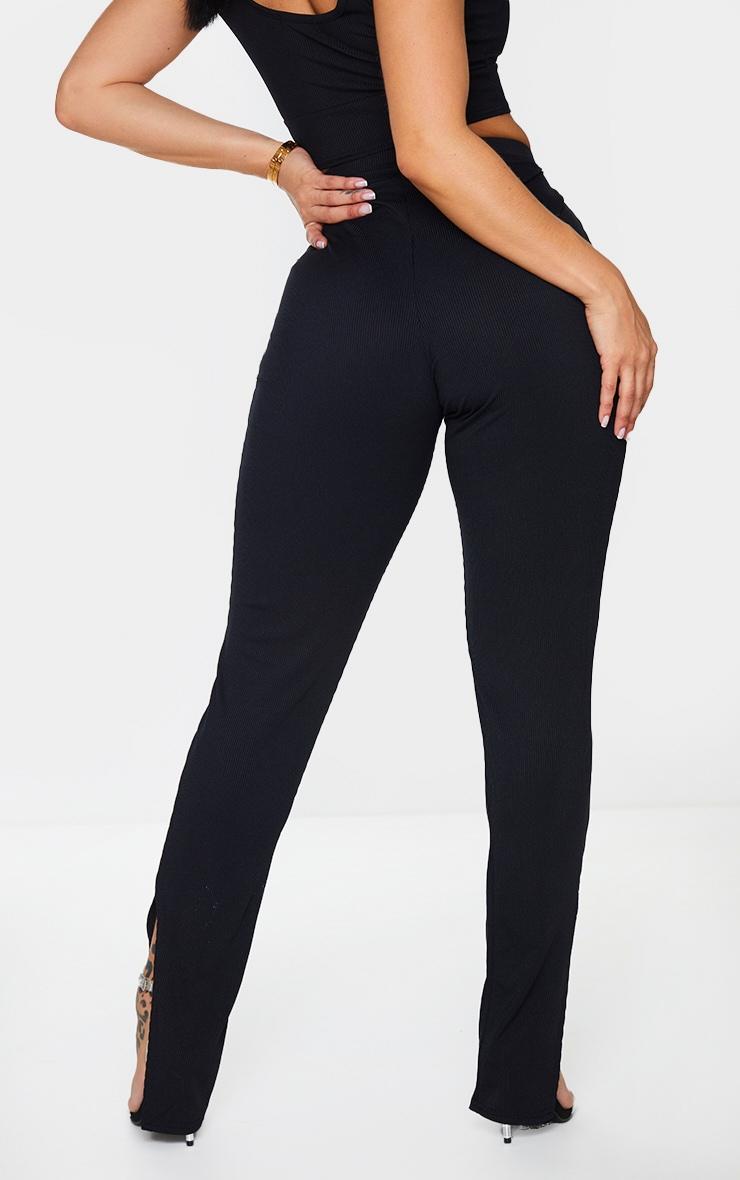 Shape Black Rib High Waist Split Hem Trousers 3