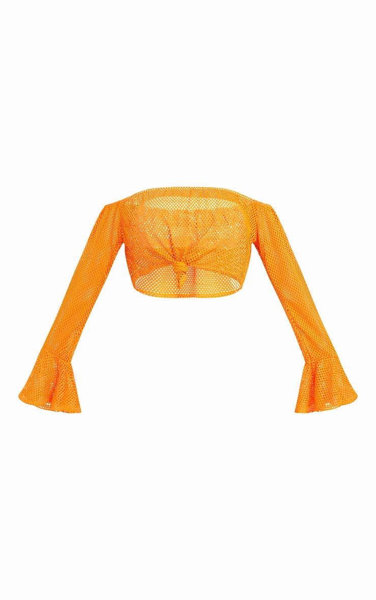 Orange Fishnet Knot Front Longsleeve Crop Top  3