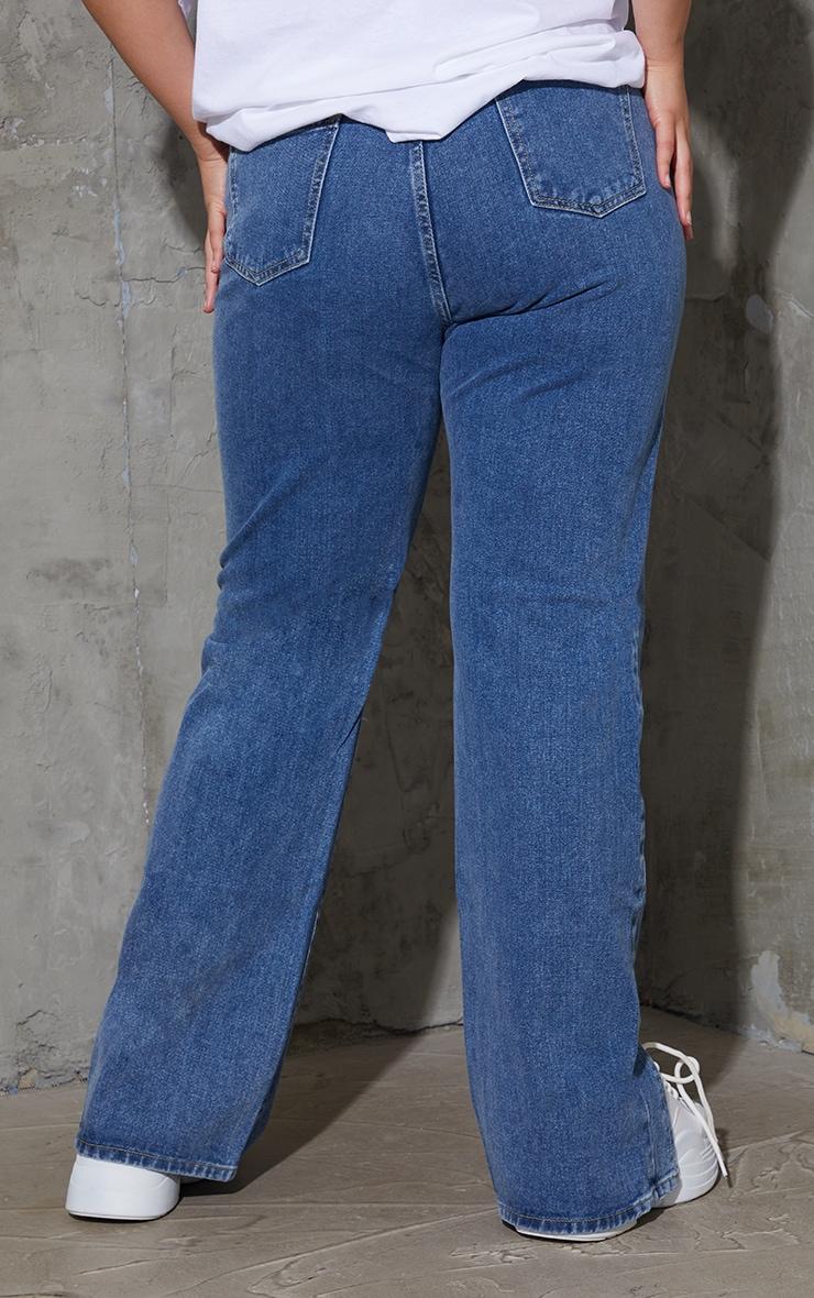 Plus Vintage Wash Double Side Seam Split Hem Jeans 3